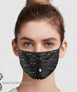 Black cats pattern anti pollution face mask