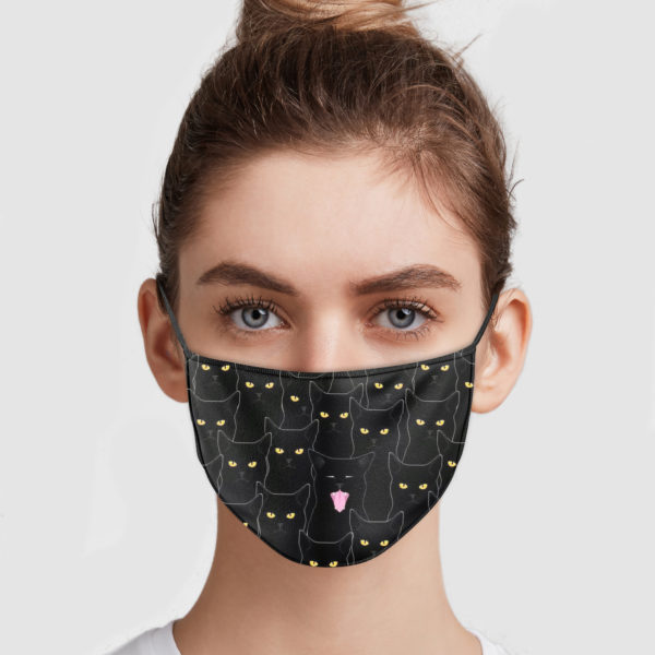 Black cats pattern anti pollution face mask 3