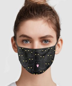 Black cats pattern anti pollution face mask 4