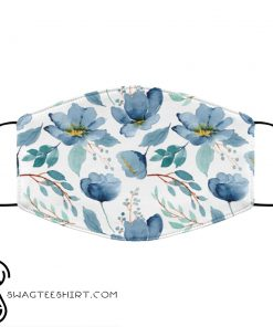 Blue flowers watercolor anti pollution face mask