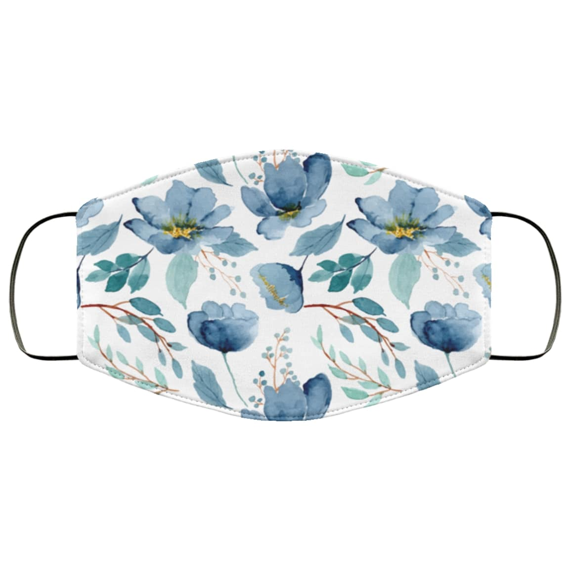 Blue flowers watercolor anti pollution face mask 3