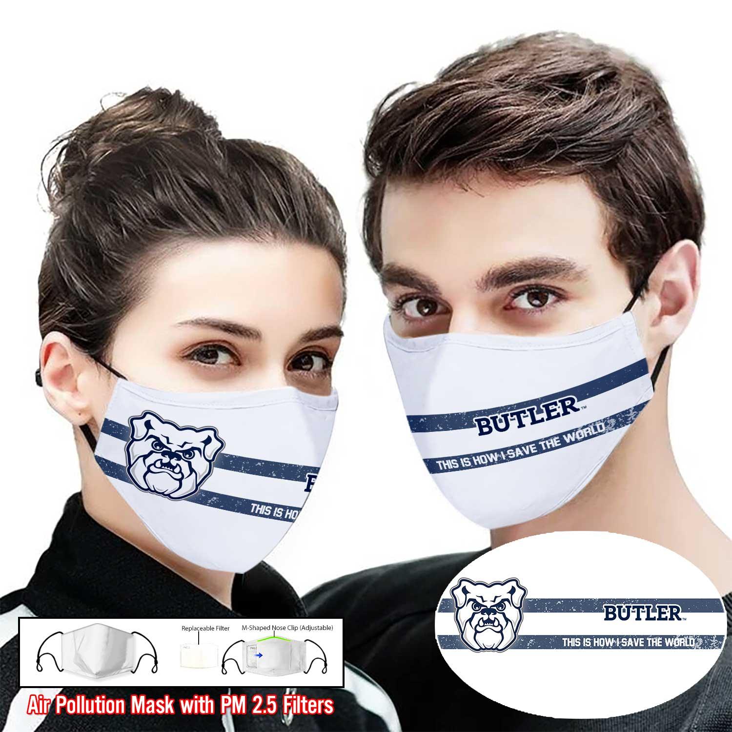 Butler bulldogs this is how i save the world face mask 2