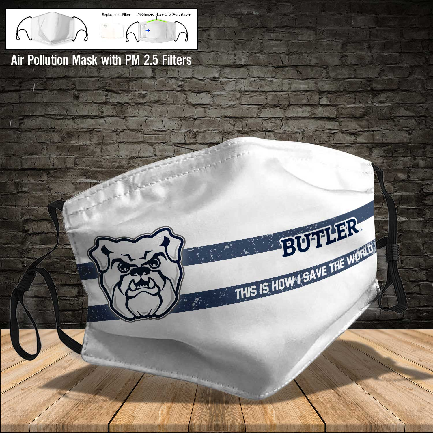 Butler bulldogs this is how i save the world face mask 3