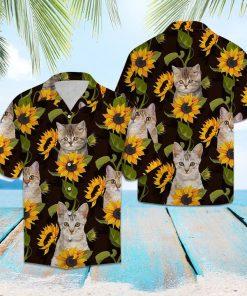Cat and sunflower hawaiian shirt 1