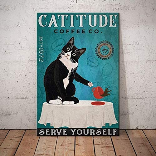 Catitude coffee co serve yourself black cat poster 1