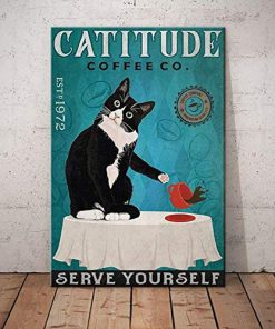 Catitude coffee co serve yourself black cat poster 2