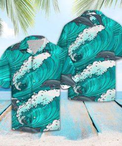 Dolphin wave beach tropical shirt 4