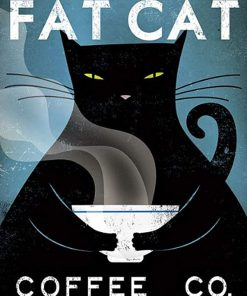 Fat cat coffee cafe company black cat poster 2