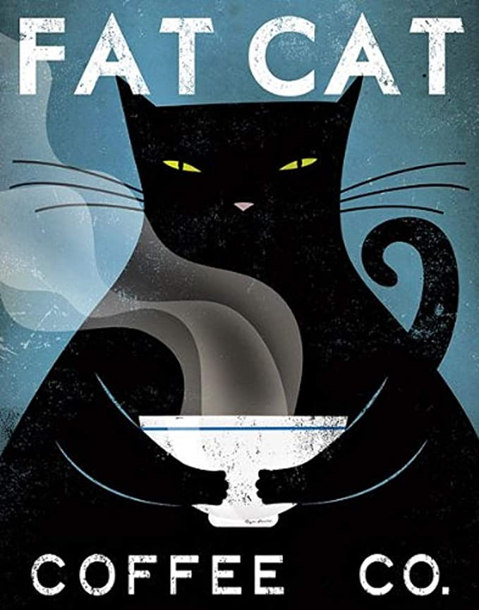 Fat cat coffee cafe company black cat poster 4