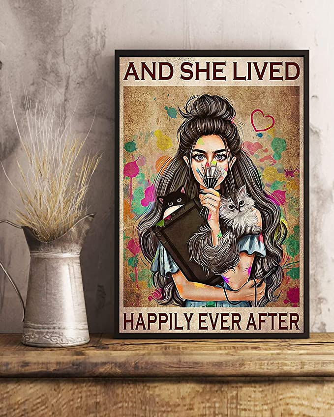 Girl with cats and she lived happily ever after poster 1