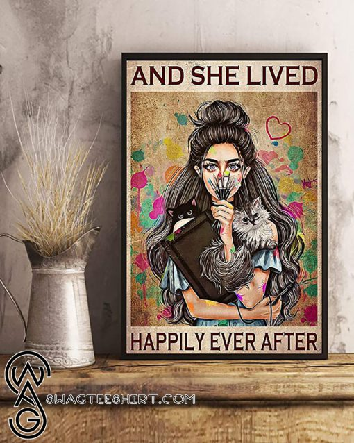 Girl with cats and she lived happily ever after poster