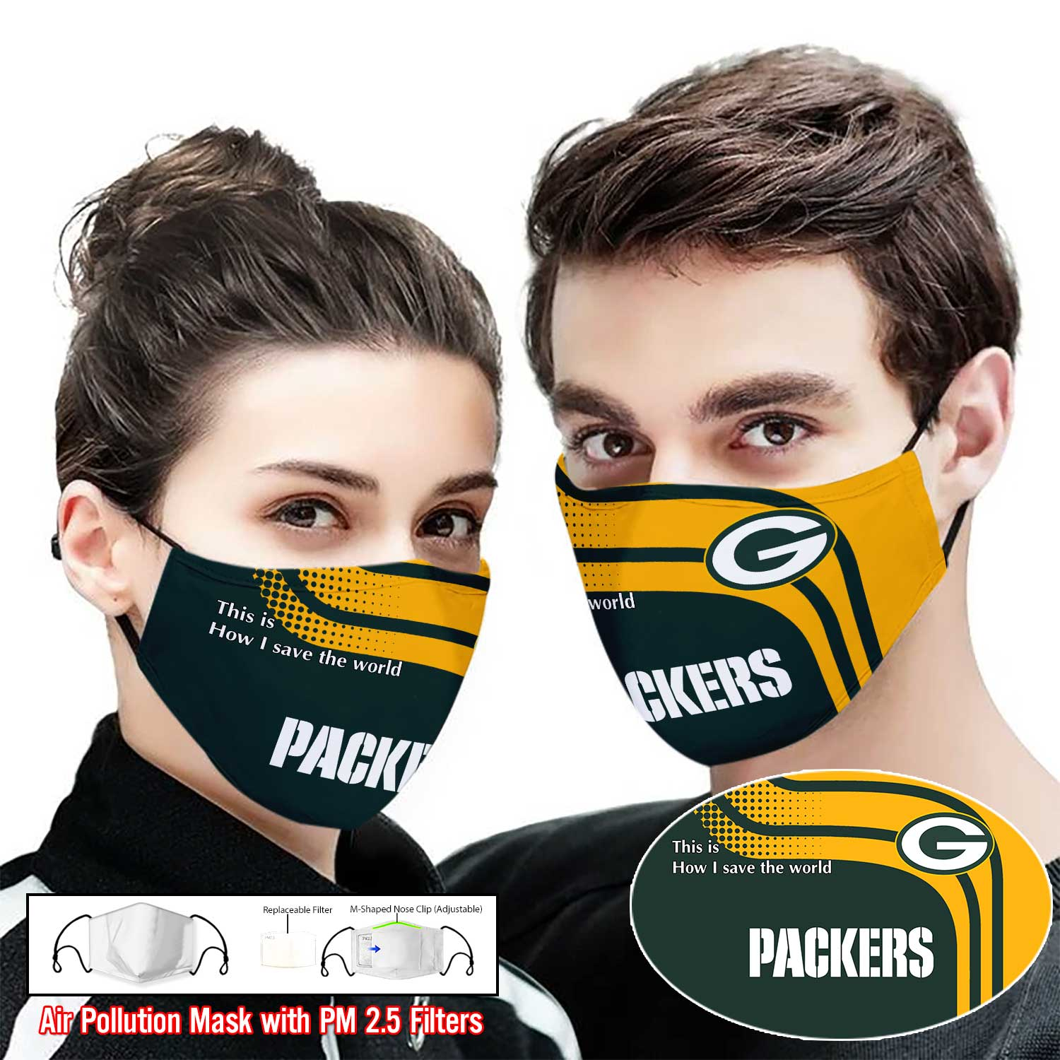 Green bay packers this is how i save the world full printing face mask 1
