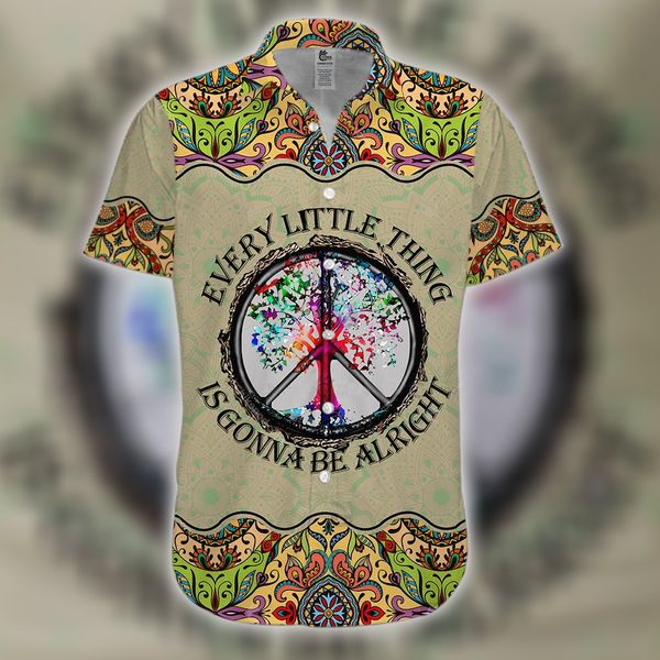 Hippie every little thing is gonna be alright hawaiian shirt 2