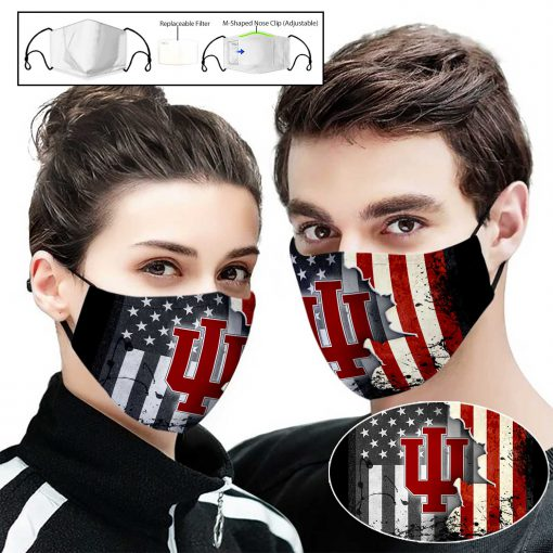 Indiana hoosiers american flag full printing face mask 2