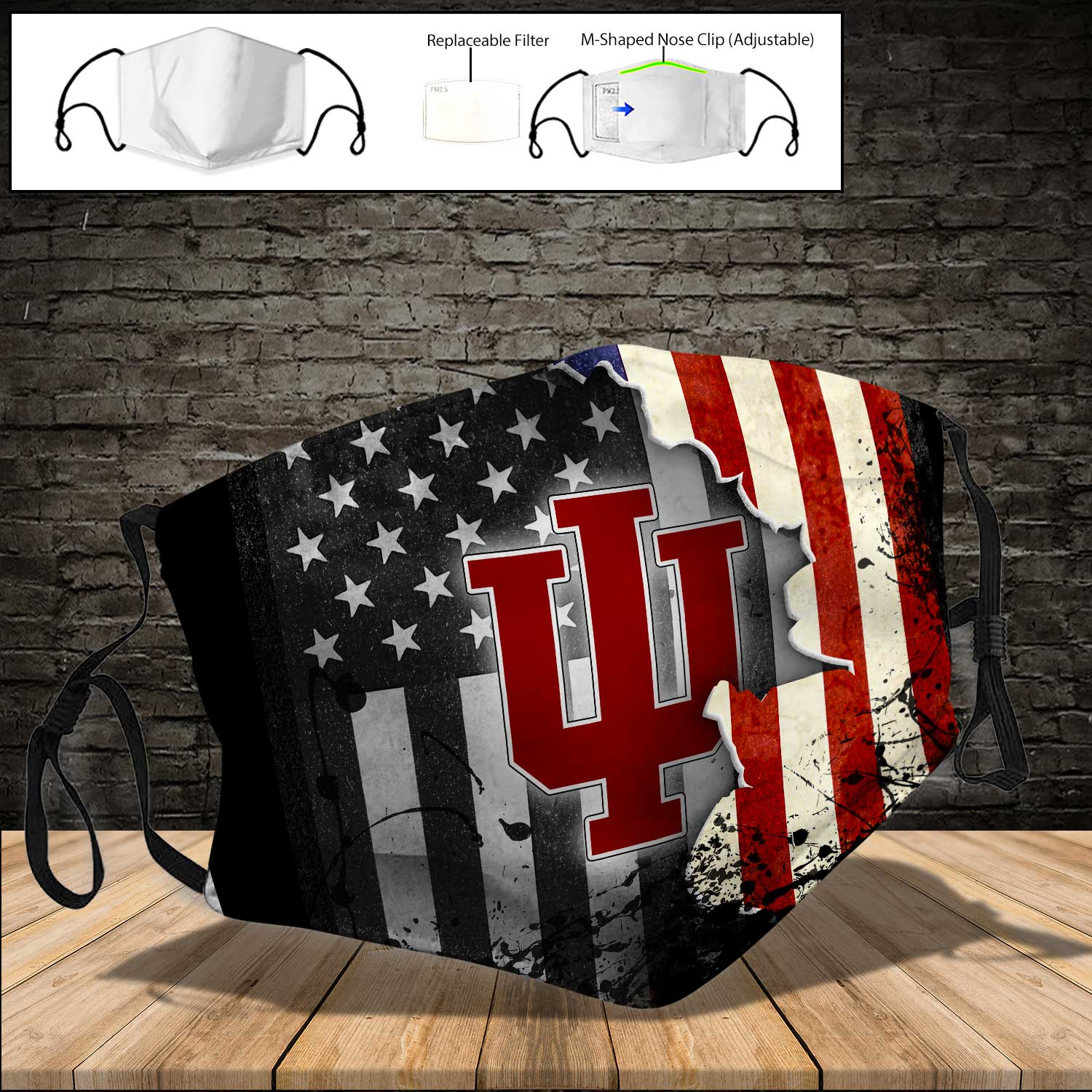 Indiana hoosiers american flag full printing face mask 3