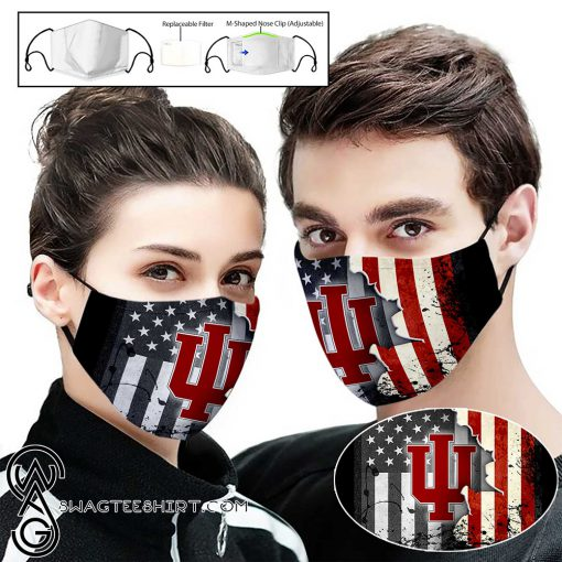 Indiana hoosiers american flag full printing face mask