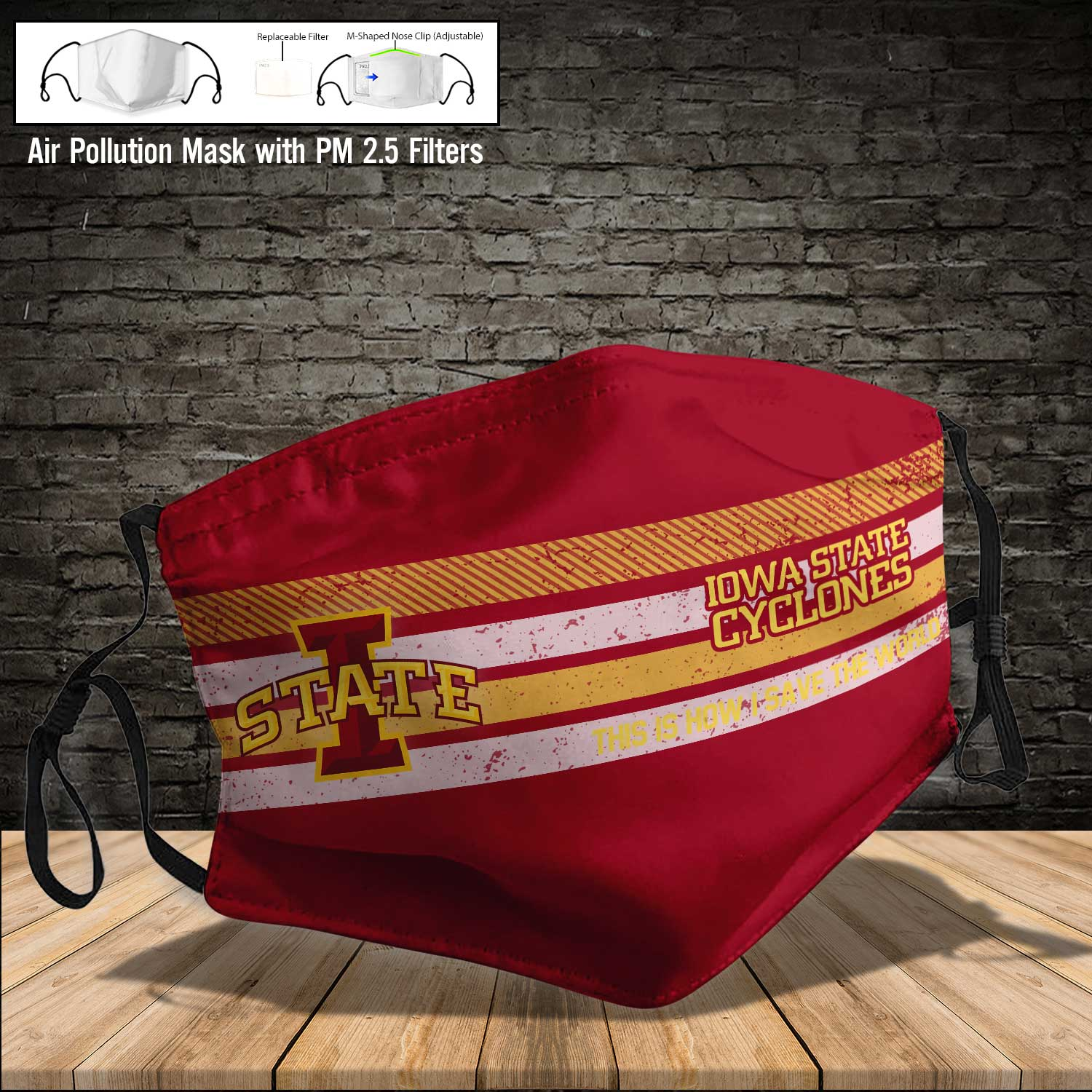 Iowa state cyclones this is how i save the world face mask 4