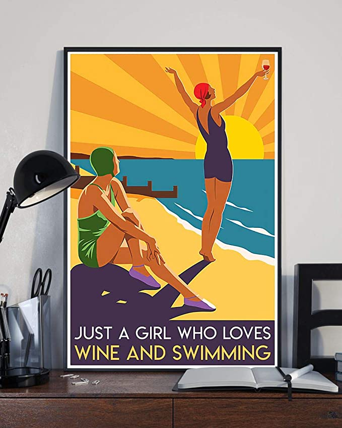 Just a girl who loves wine and swimming summer poster 2