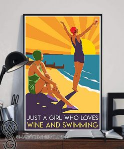 Just a girl who loves wine and swimming summer poster