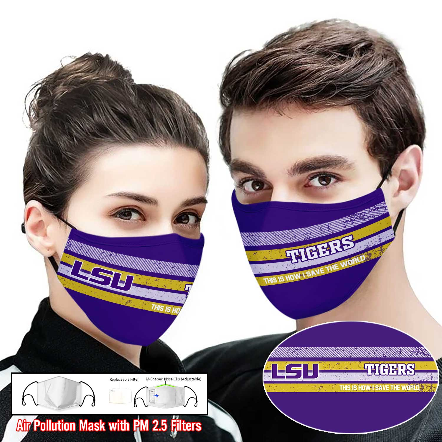 LSU tigers football this is how i save the world face mask 1