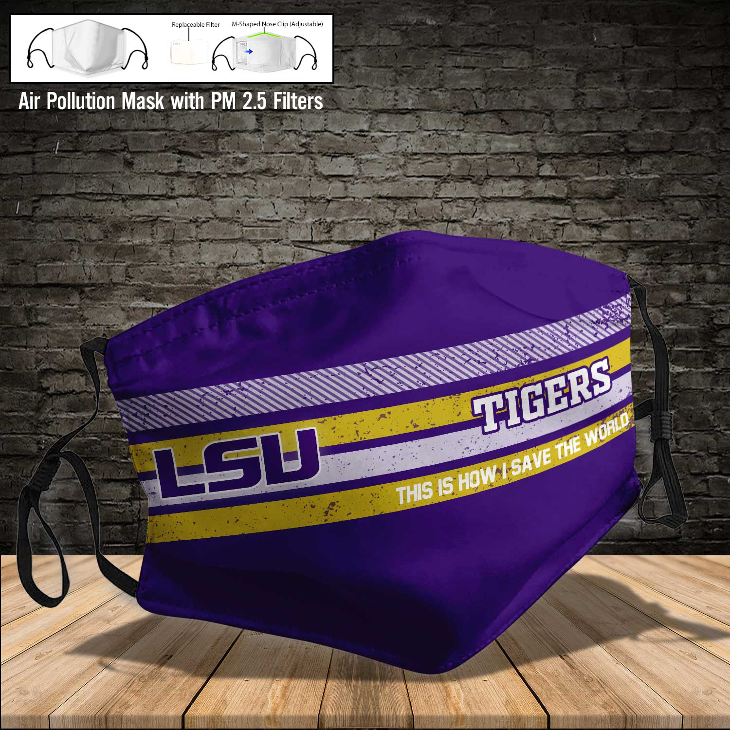 LSU tigers football this is how i save the world face mask 4