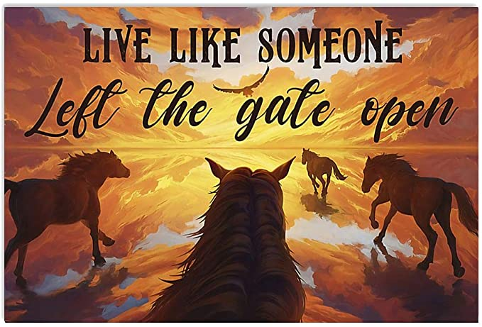 Live like someone left the gate open horse native american poster 4