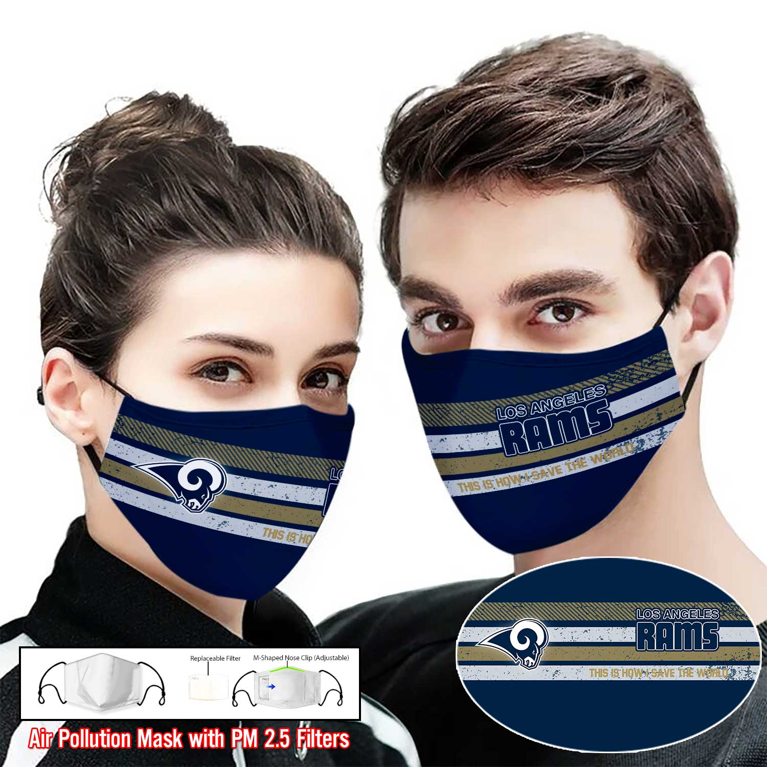 Los angeles rams this is how i save the world full printing face mask 2