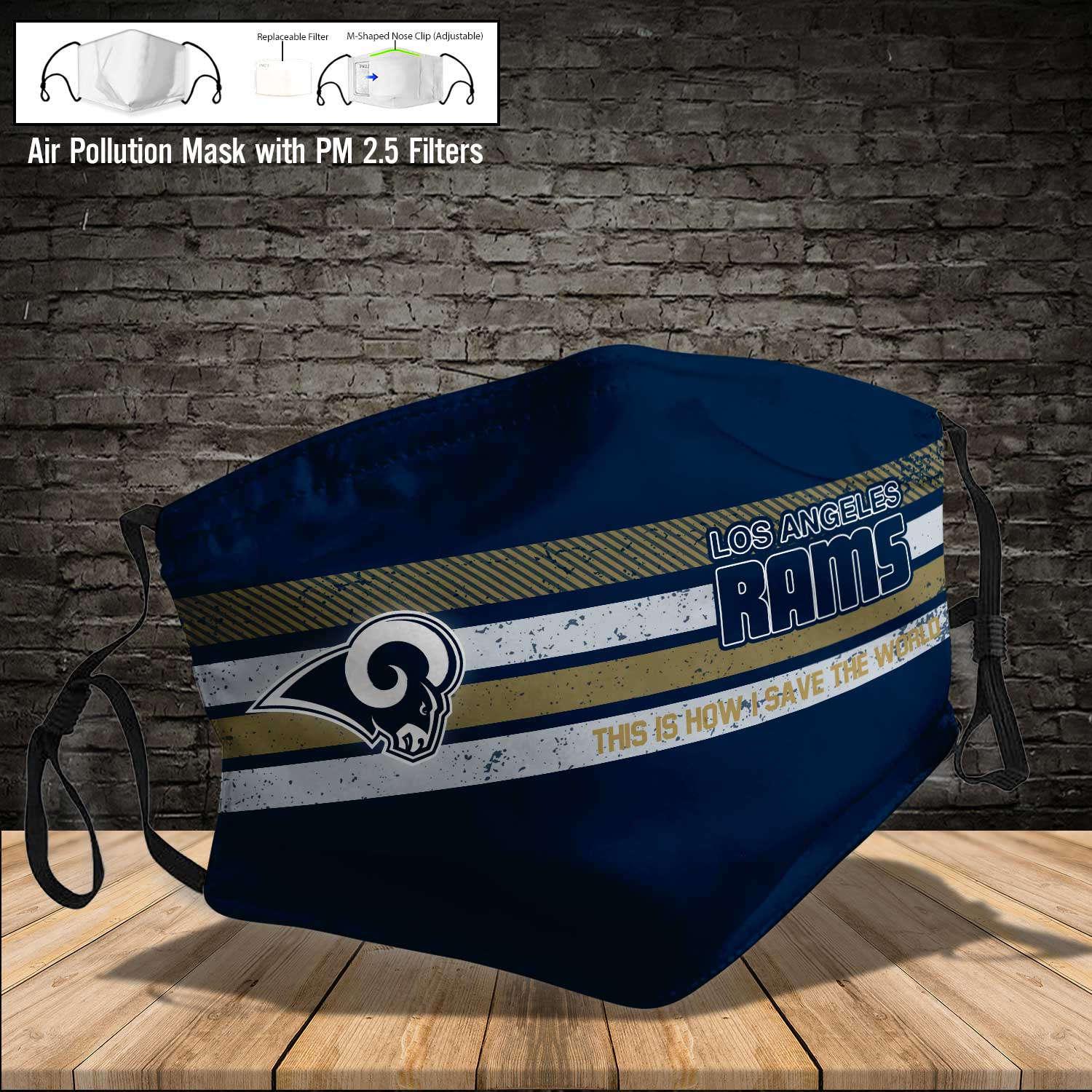 Los angeles rams this is how i save the world full printing face mask 3