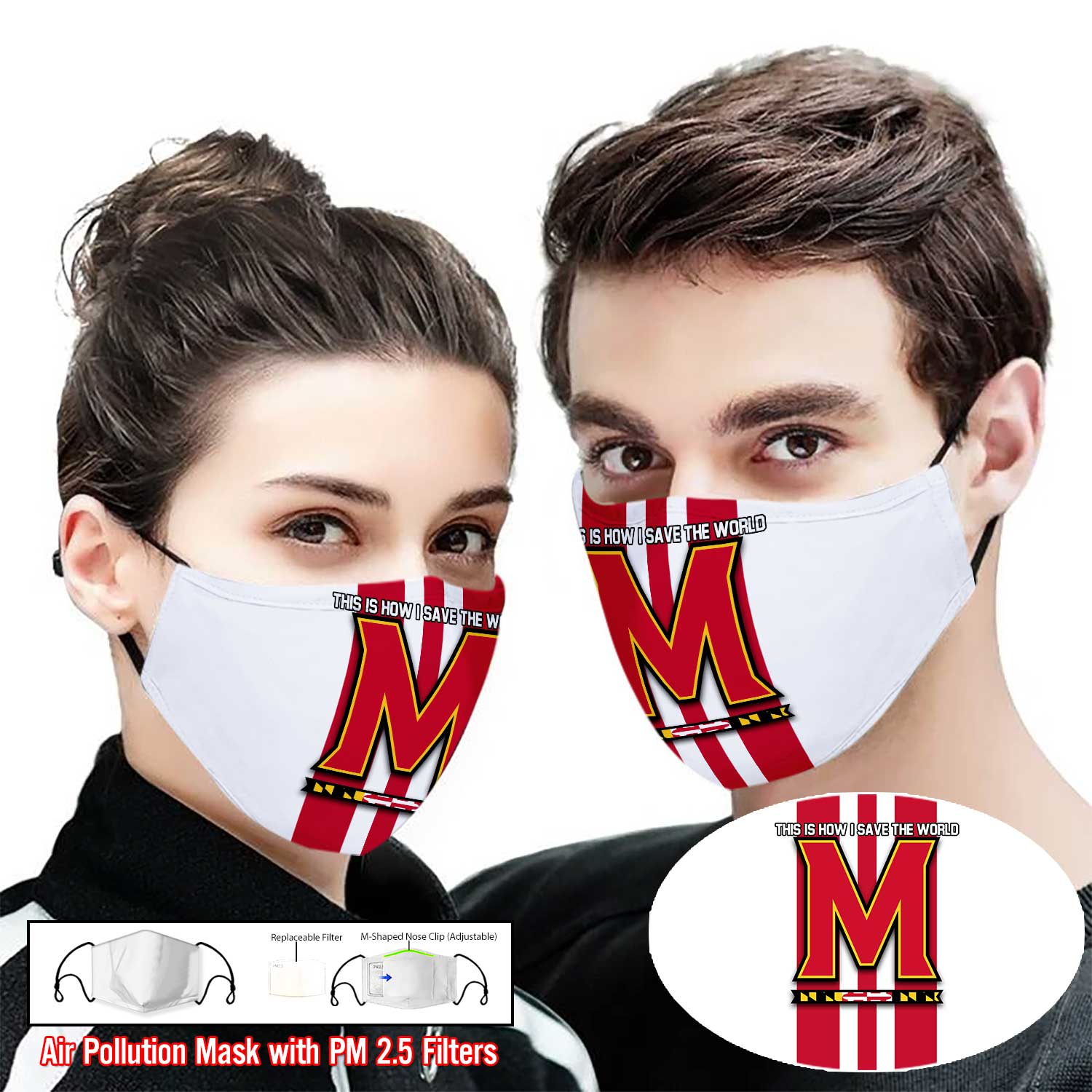 Maryland terrapins this is how i save the world face mask 1