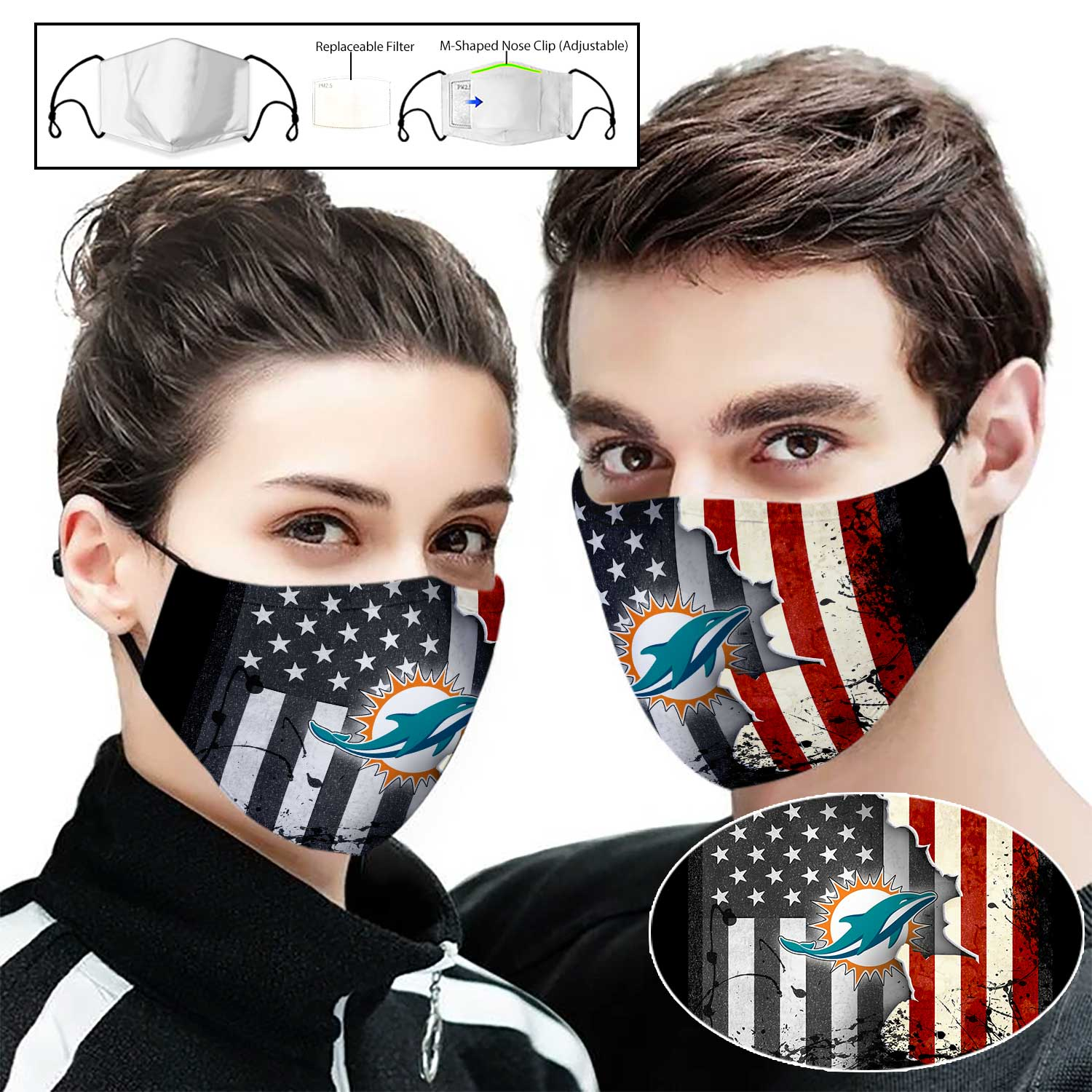 Miami dolphins american flag full printing face mask 1