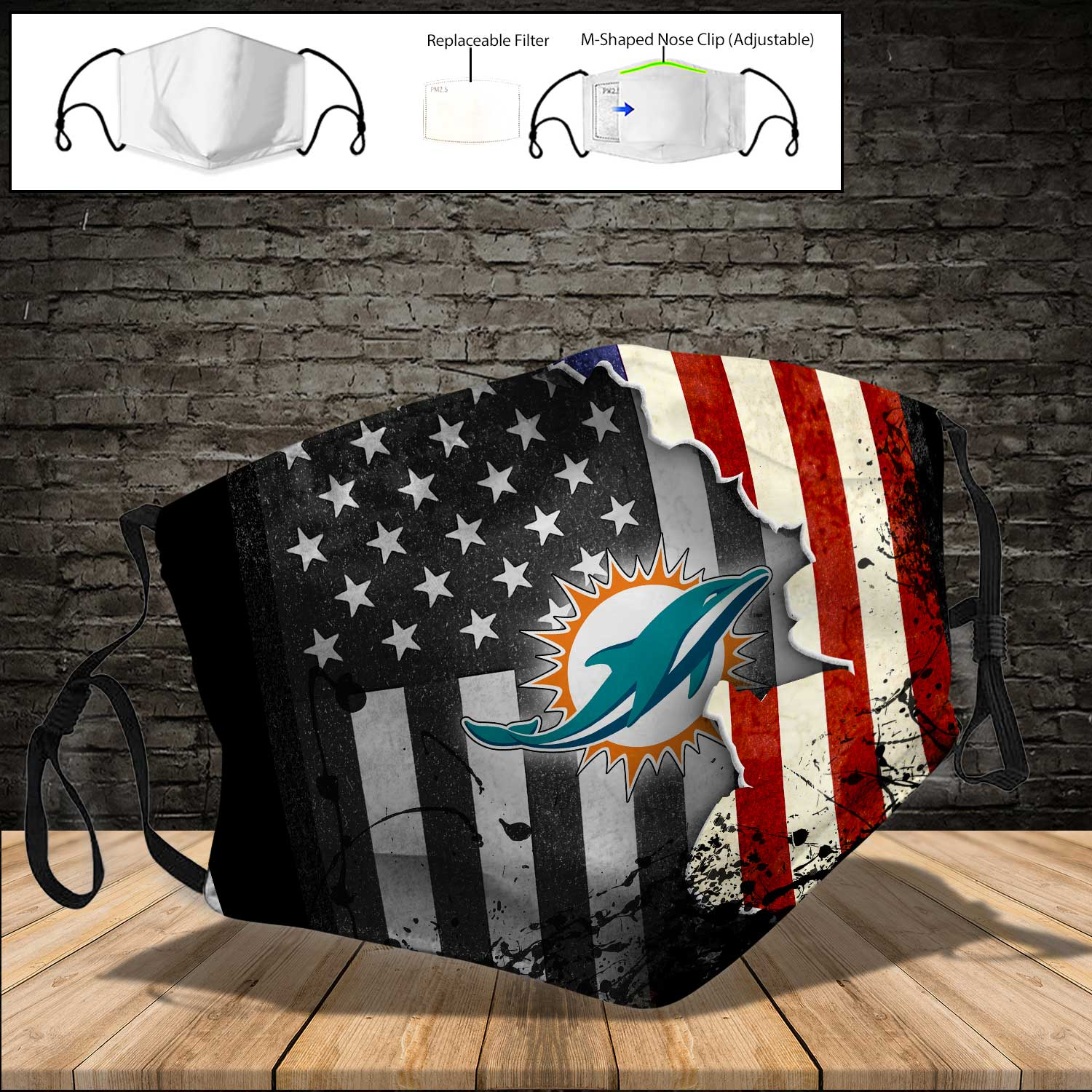 Miami dolphins american flag full printing face mask 4