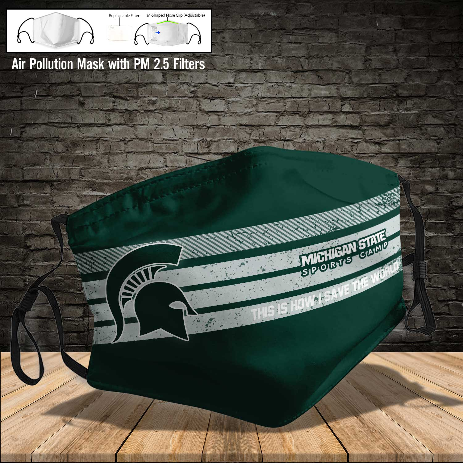Michigan state spartans this is how i save the world face mask 4