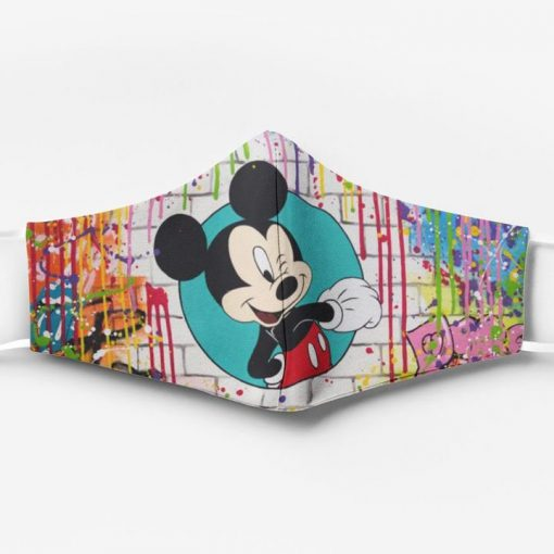 Mickey mouse watercolor full printing face mask 1
