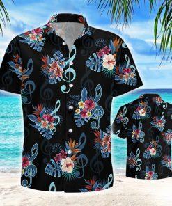 Music note and flower hawaiian shirt 1