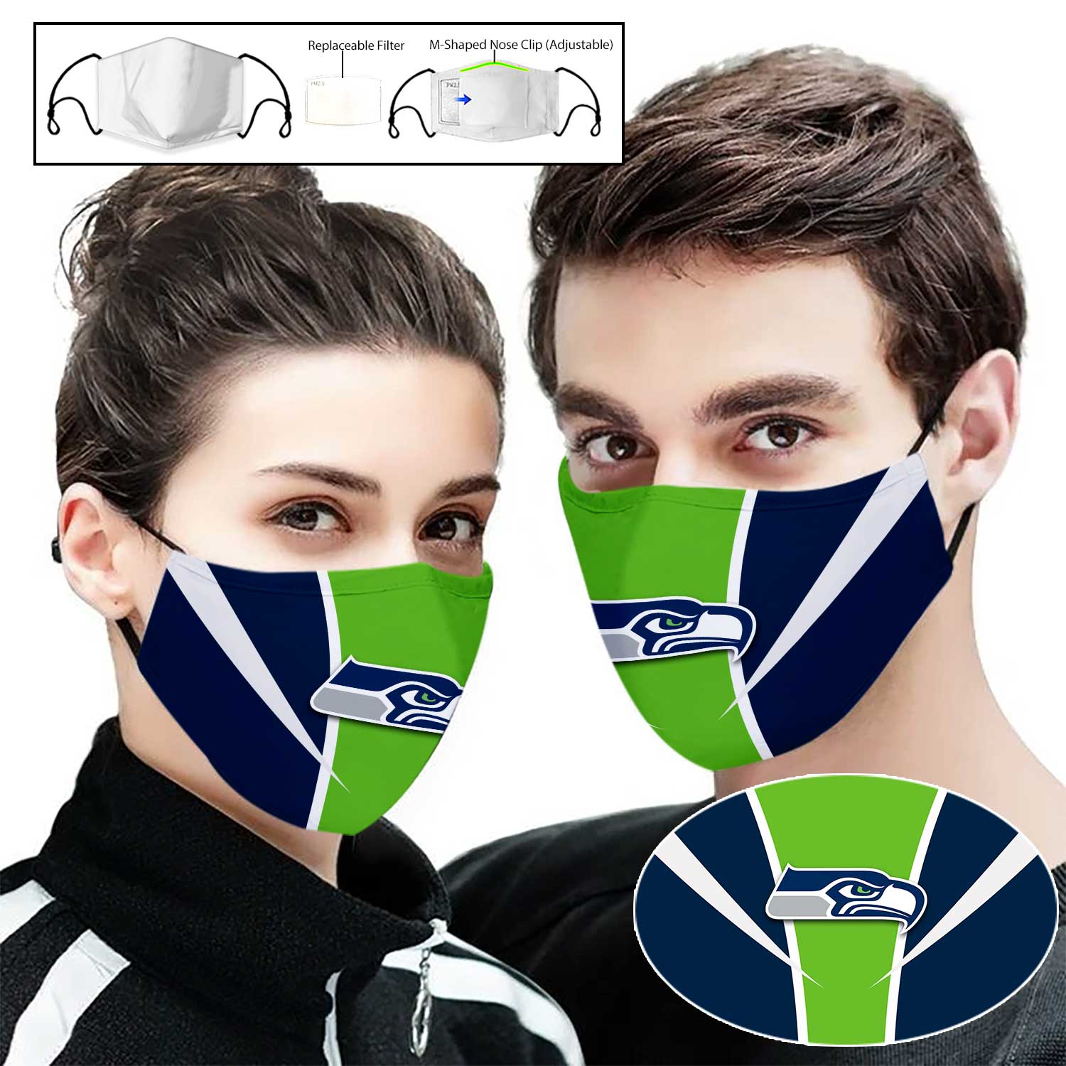 National football league seattle seahawks full printing face mask 1