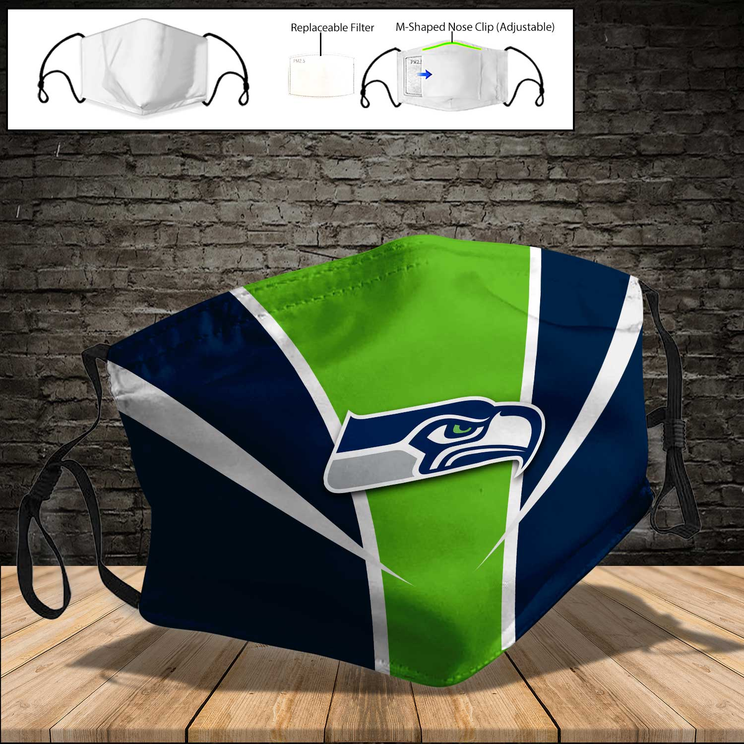 National football league seattle seahawks full printing face mask 4