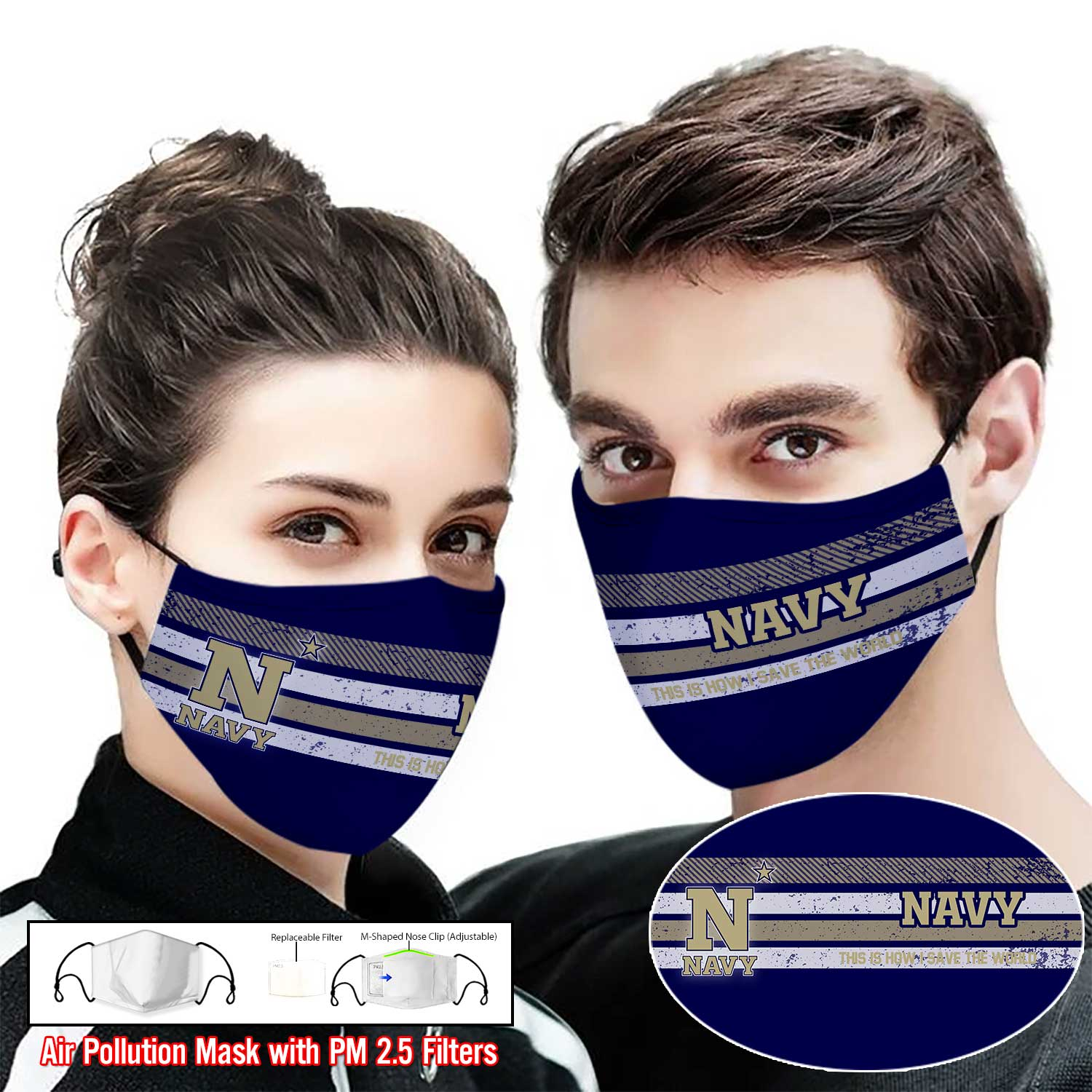 Navy midshipmen this is how i save the world full printing face mask 1