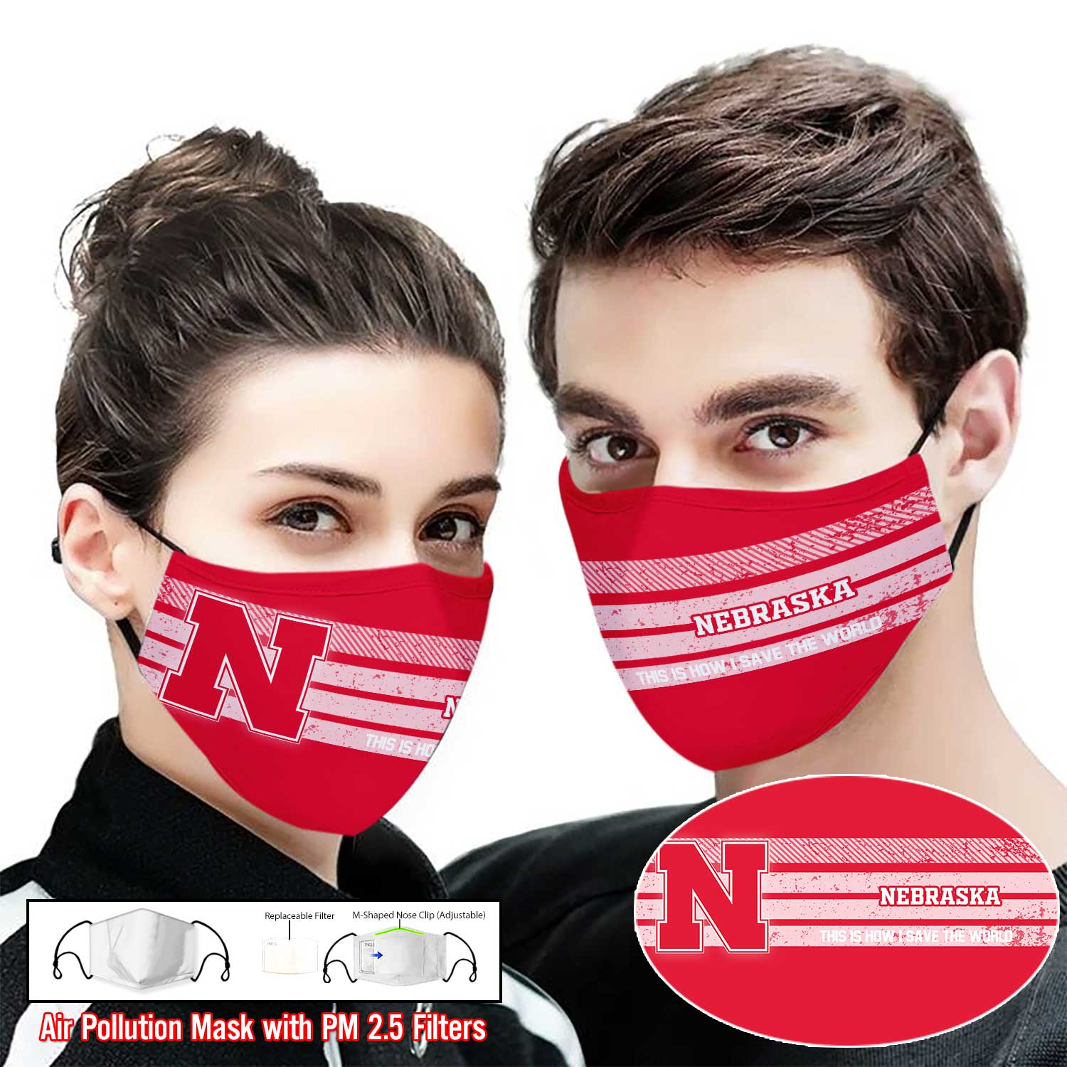 Nebraska cornhuskers this is how i save the world full printing face mask 1