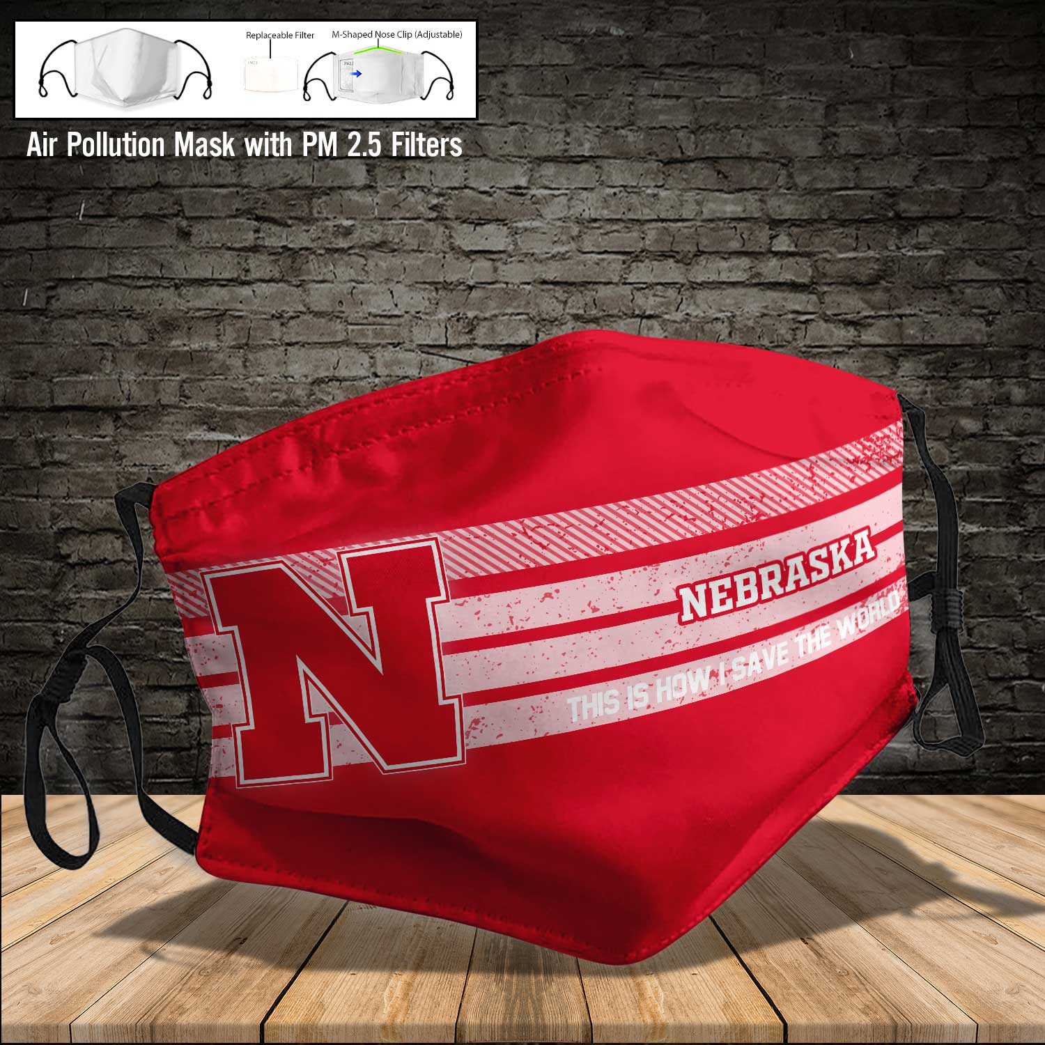 Nebraska cornhuskers this is how i save the world full printing face mask 4
