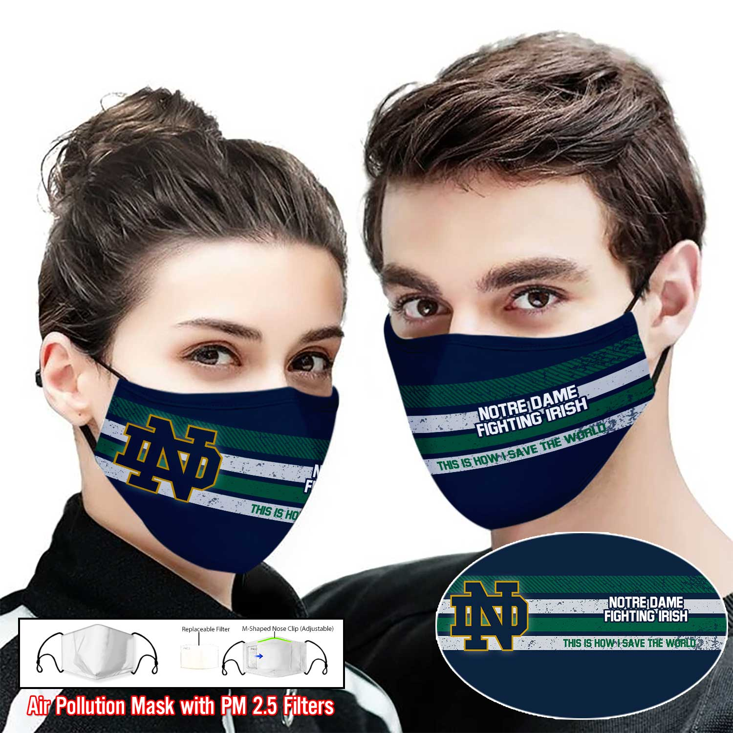 Notre dame fighting irish this is how i save the world full printing face mask 1