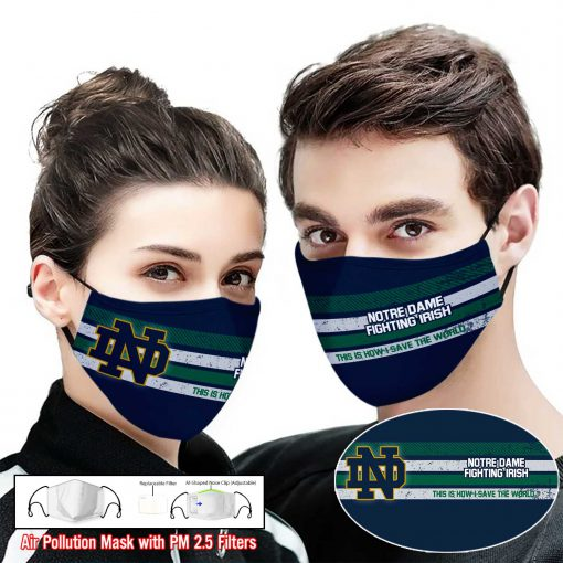 Notre dame fighting irish this is how i save the world full printing face mask 2