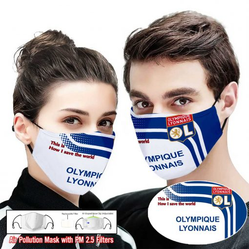 Olympique lyonnais this is how i save the world full printing face mask 1