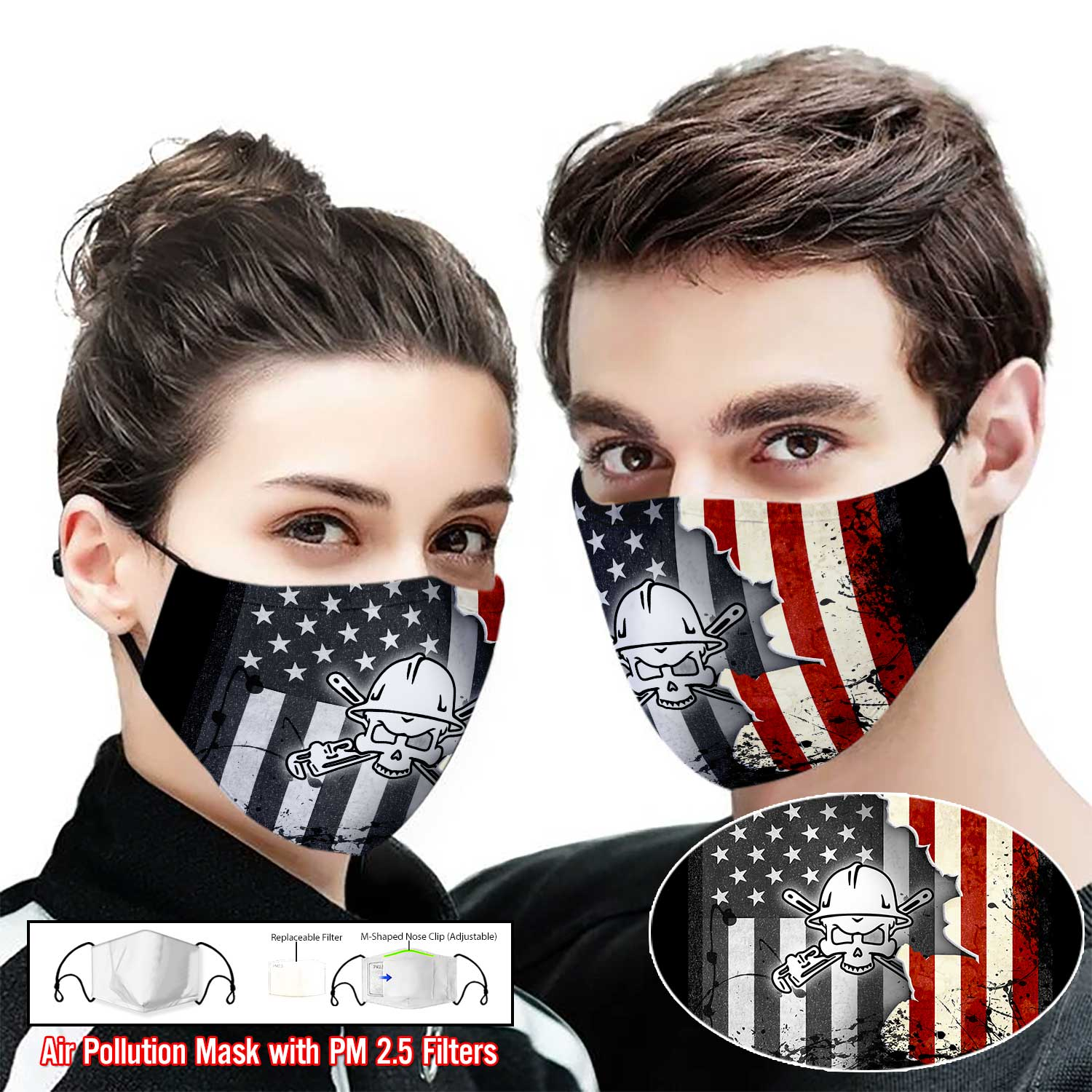 Pipe fitter american flag full printing face mask 1