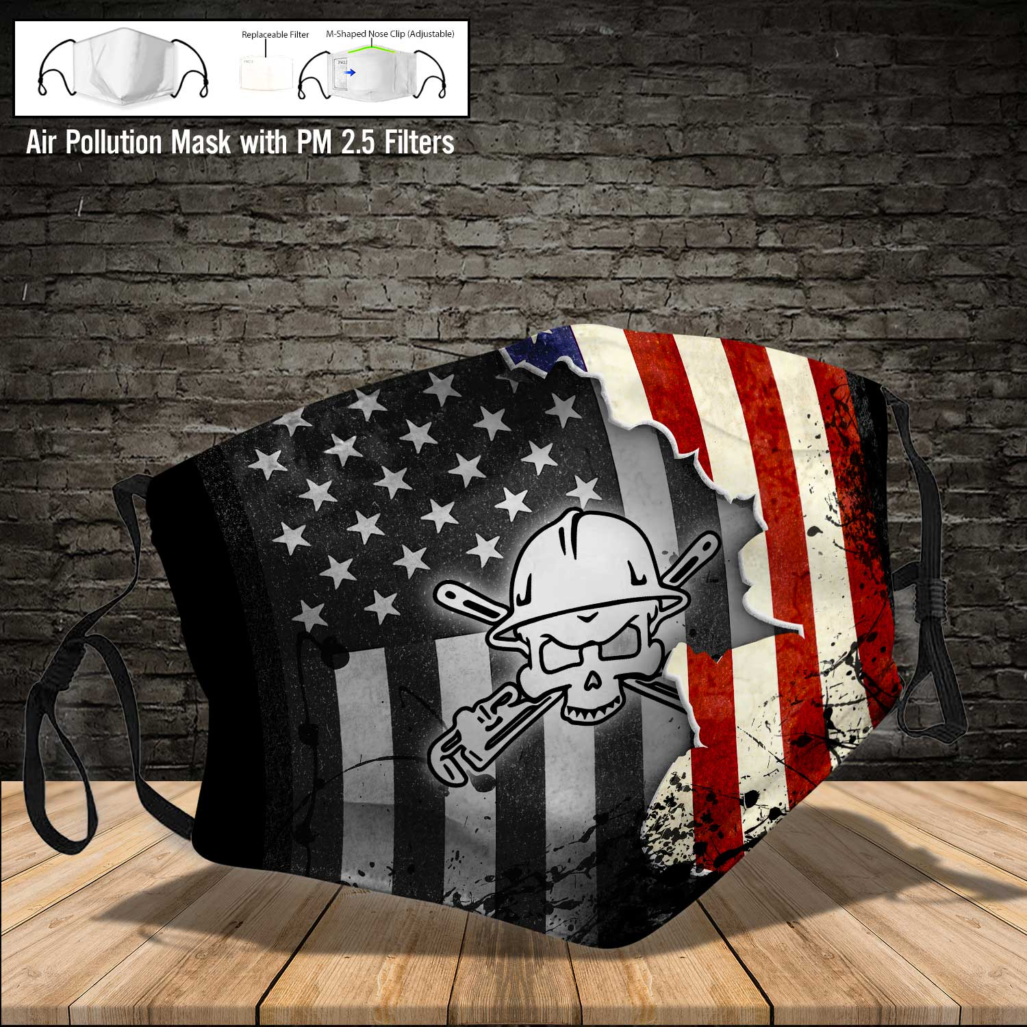Pipe fitter american flag full printing face mask 3