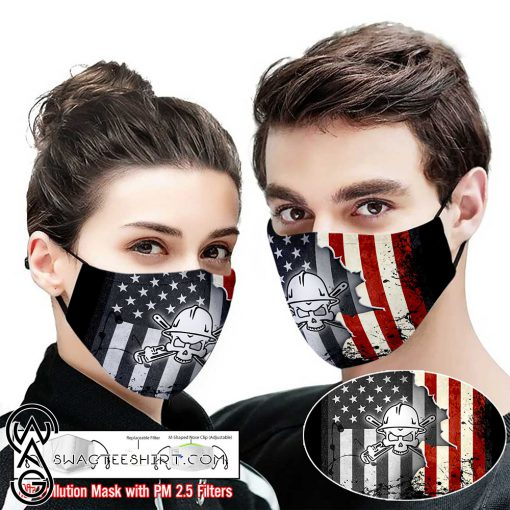 Pipe fitter american flag full printing face mask