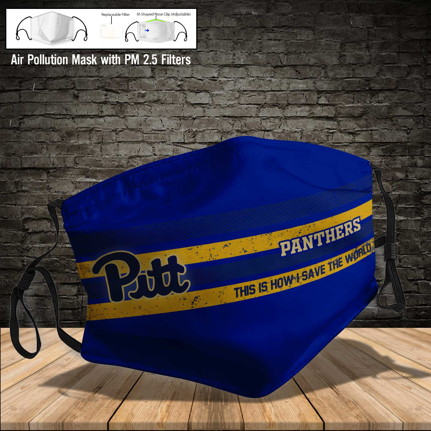 Pitt panthers this is how i save the world face mask 3
