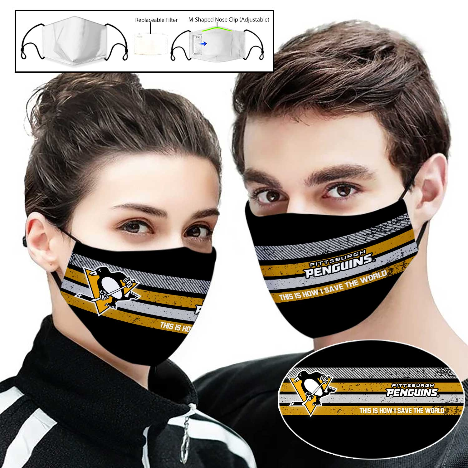 Pittsburgh penguins this is how i save the world face mask 1