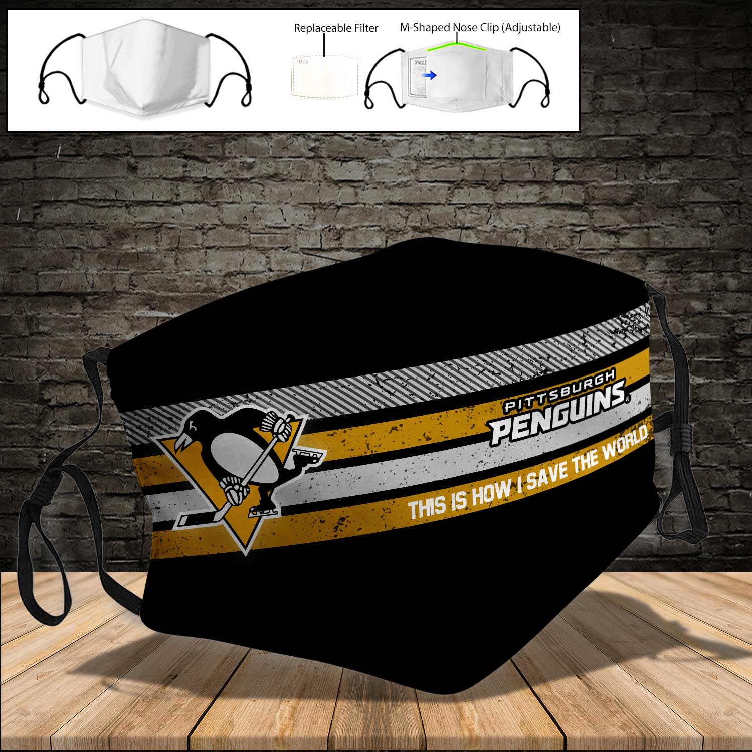 Pittsburgh penguins this is how i save the world face mask 3