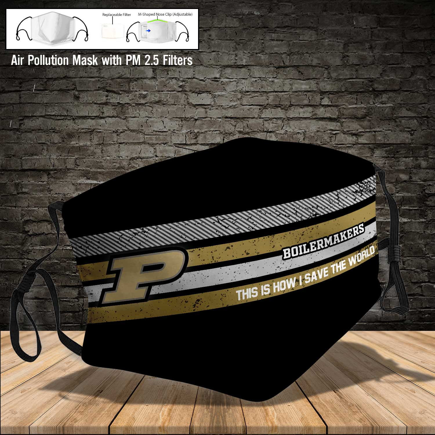 Purdue boilermakers this is how i save the world full printing face mask 3