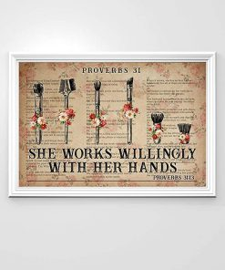She works wiliingly with her hands makeup tools flowers dictionary poster 2